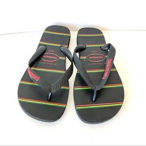 HAVAIANAS Monogrammed Flip Flop Sandals—SZ. 9/10W